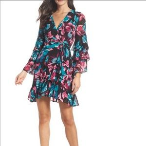 Charles Henry Floral Wrap Dress